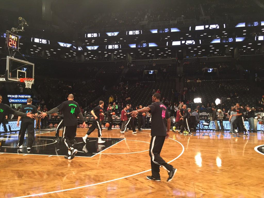 Brooklyn Nets came out wearing Gamblero 44 t-shirts. My heart exploded. http://t.co/369KX7Ak8o