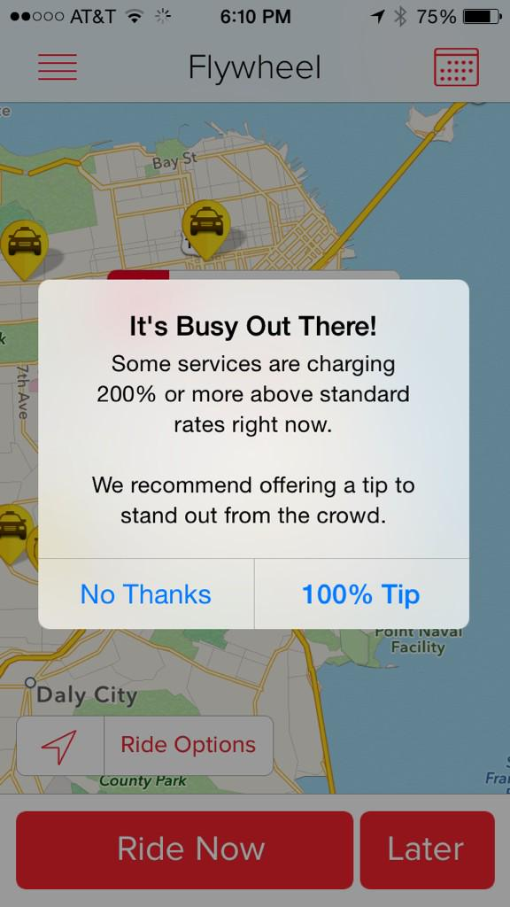 Love that taxi hammers Uber & Lyft for surge pricing yet recommends 100% tip to get one of their own to pick you up http://t.co/OffBuLXQHc
