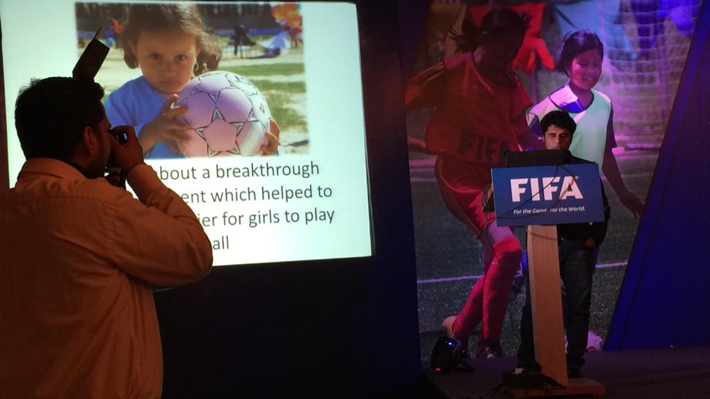 Talking about breaking down barriers for girls to play football in Afghanistan. #empower #inspire #FIFAWFDIndia http://t.co/Z6FzVp9Gep