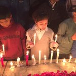 Candle Light Vigil at Liberty Chowk, Lahore right now for #PeshawarAttack martyrs. http://t.co/A725jrsY2s