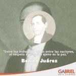 """""""Entre los individuos como entre las naciones, el respeto al derecho ajeno es la paz"""".  Benito Juárez http://t.co/dzK1psIr3v"""