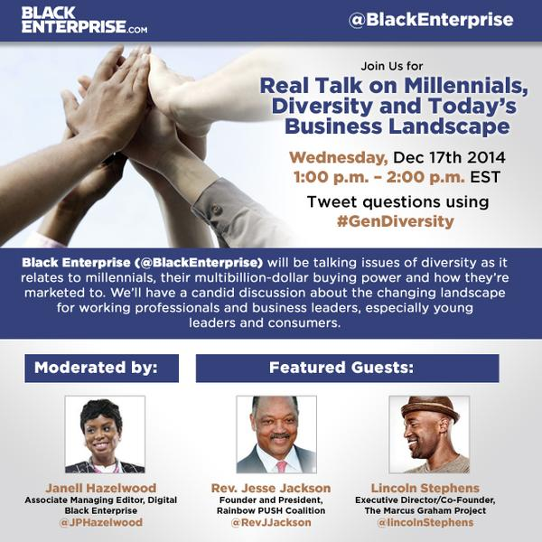 @blkintechnology join @blackenterprise #GenDiversity discussion 2DAY @ 1PM ET. Would be great to see Tech perspective http://t.co/D0l5kkhRY0