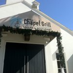 """Oops! Typo in new awning above The Chapel Grill in Naples. Mr. Signman, bring me an """"A."""" http://t.co/6g4Wp36U51"""