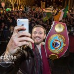 Now THAT is a selfie! @AndyLeeBoxing with his belt in front of adoring supporters outside Limerick City hall #champ http://t.co/oLgoTcgCtS