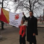 Mayor Mel Norton and 1985 athlete Brenda Guitard raise the Canada Games Flag.  The 30th anniversary is next year. http://t.co/k8sEL0D3bk