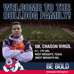QB Chason Virgil threw for 2,765 yards and 41 touchdowns last year at West Mesquite HS. He is the newest Bulldog! http://t.co/p7MSQmBZfl