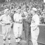 Hal Totten called games for WMAQ #Chicago in the 1920s at Comiskey Park. Standing with Ty Cobb at Comiskey Park. http://t.co/l4S1tVGom4