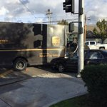 Auto thief Stole a Honda from SE Fresno, crashes into this @UPS truck trying to escape @FresnoPolice @ABC30 #mapit http://t.co/urPeciESzk