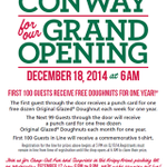 Krispy Kreme opens tomorrow morning in Conway. First 100 customers get Krispy Kreme free for 1 year:  #ARNews http://t.co/TjrVzTyt8R