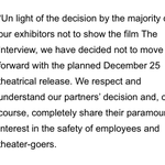 #BREAKING Sony Cancels Theatrical Release for 'The Interview' on Christmas. #TMZ http://t.co/jW6OjkodAz