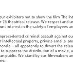 """FULL STATEMENT from Sony on canceling Dec. 25 release of """"The Interview"""" http://t.co/Hpjb3a4oqH"""