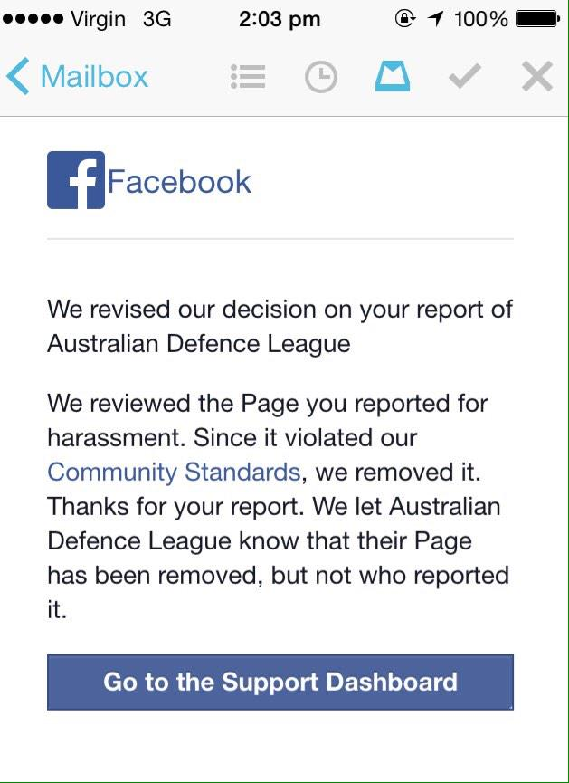 Whoa, @facebook reviewed their review of the ADL page and removed it after all