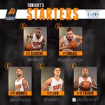 Here is your @iasishealthcare #SunsAtHornets starting lineup. RT to welcome @Goran_Dragic back! http://t.co/43qyZDuiVo