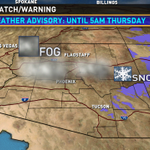 Patchy fog is possible from Northern Arizona down to the deserts of Phoenix overnight into Thursday 11am. @12news http://t.co/8AxKvKD1Zd