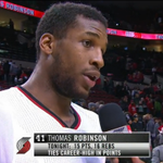 Truck Robinson earned himself a post-game interview with his career night. #PORvsMIL WATCH: http://t.co/XuXy1HLrAz http://t.co/BvLrIpqY0w