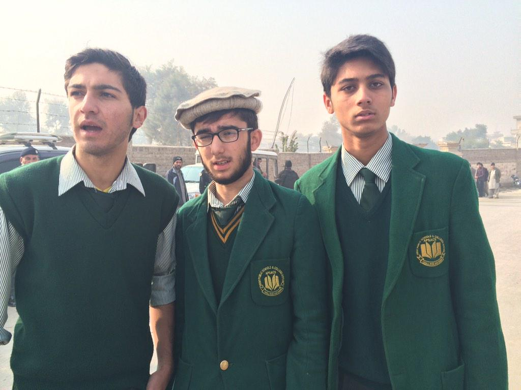 """Students of #ArmyPublicSchool- standing outside gate .""""I'm coming back to school, not afraid"""" one tells me.#Peshawar http://t.co/fYRgsu7g4p"""