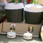 """Among the bed of flowers, """"two coffees for two people who wont be coming home."""" - @lizziepearl #SydneySiege #9News http://t.co/n651qGAVkL"""