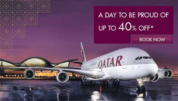 Celebrate Qatar National Day with up to 40% off on QatarAirways flights from Doha.