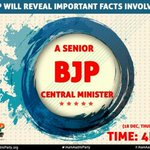 AAP will reveal important facts, senior BJP Central Minister involved.  Stay Tuned ;  #BJPScamsBegin http://t.co/TYXMsm6z2f