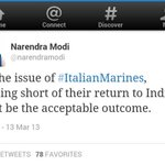 Hey @narendramodi - On Issue of #ItalianMarines, nothing short of their return to India must be acceptable outcome http://t.co/wGm0Trhziz