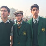 Students of the Peshawar school stand outside its gate - tell BBCs @Shaimaakhalil theyre not scared & will go back http://t.co/E8wd1zqRz3