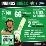 Alright, now its up to our bowlers to make sure 149 is unachievable! #GoStars #BBL04 http://t.co/c1VzOiQZLO