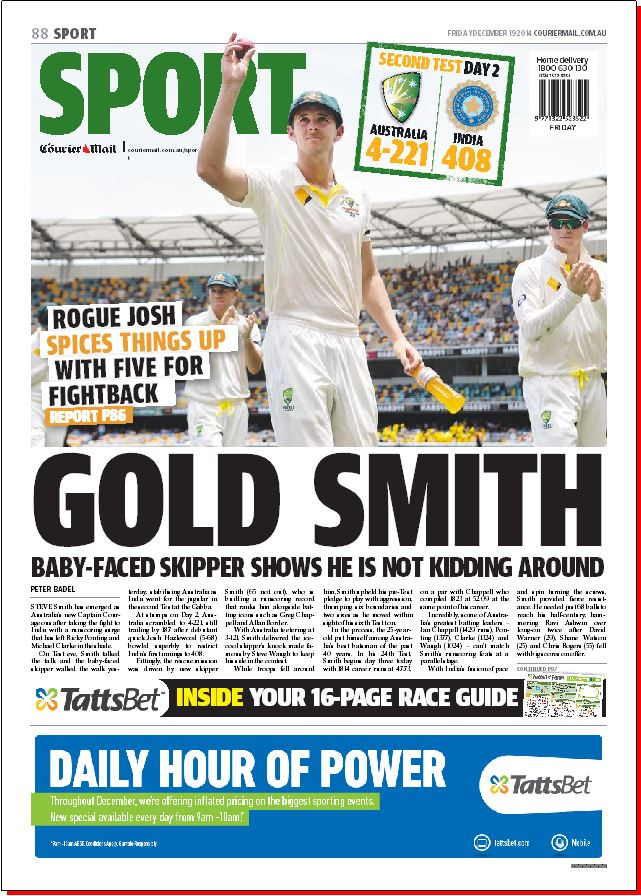 Tomorrow's @couriermail back page. Better day for the Aussies with Hazlewood and Smith standing tall to save the Test http://t.co/3U0QDbq11Z