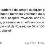 Se necesitan 20 #DadoresDeSangre #Rosario se agradece difusión http://t.co/fkyQ6spO7J