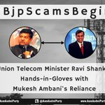 Telecom minister Ravi Shankar receives lakhs of ₹ from reliance every month. #BJPScamsBegin http://t.co/jSZJqELNQ5