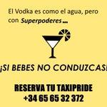 El vodka es como el agua, pero con superpoderes, SI Bebes No conduzcas. #TaxiPride #Barcelona http://t.co/S6n5uJqw1v