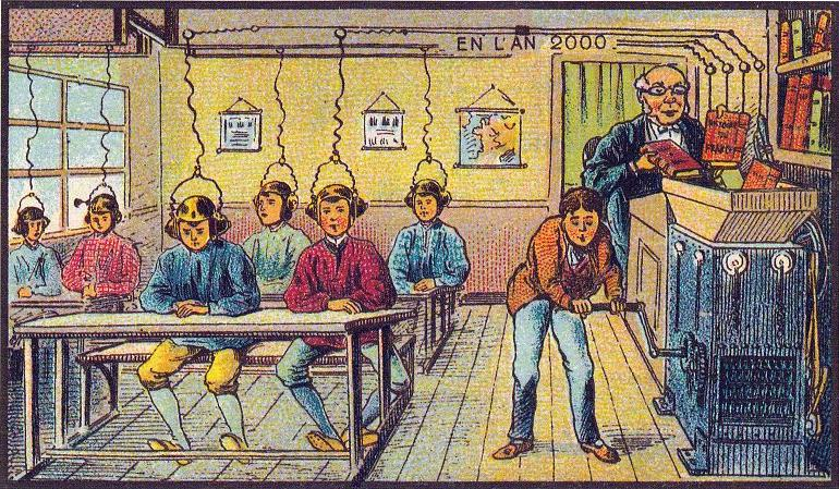 According to an artist in 1910, this would have been the classroom of year 2000. What's missing? #edtech #edchat http://t.co/hsgUyIsCxc