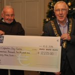 Delighted to present cheque of €17,273 to Br Kevin of the Capuchin Day Centre today @MansionHouseDub #LMBall2014 http://t.co/fEtRpmfURO