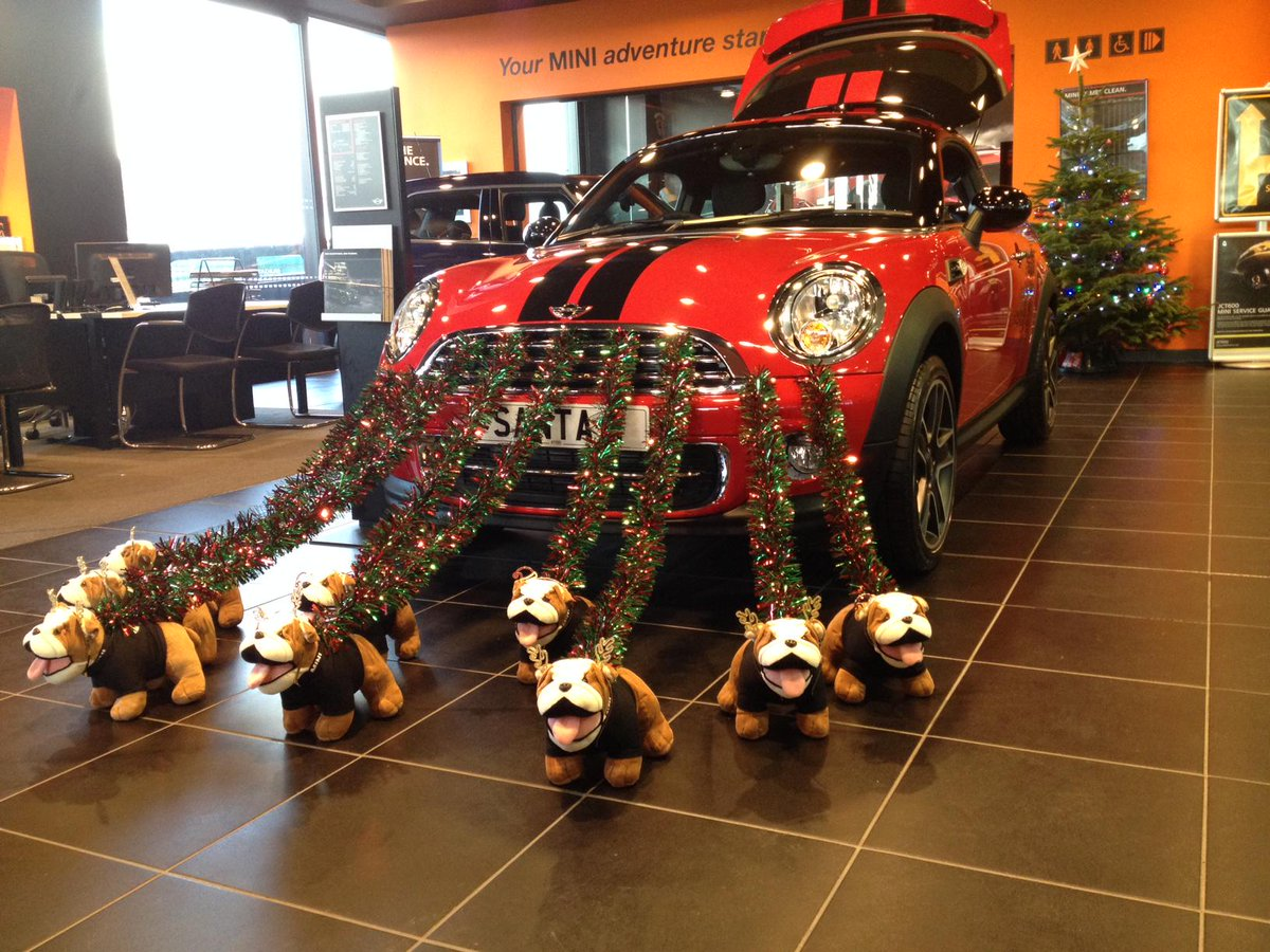 With a week until Christmas, here is our most creative showroom decoration! - at @MINIUK #Bradford http://t.co/ZjR1JOTGKo