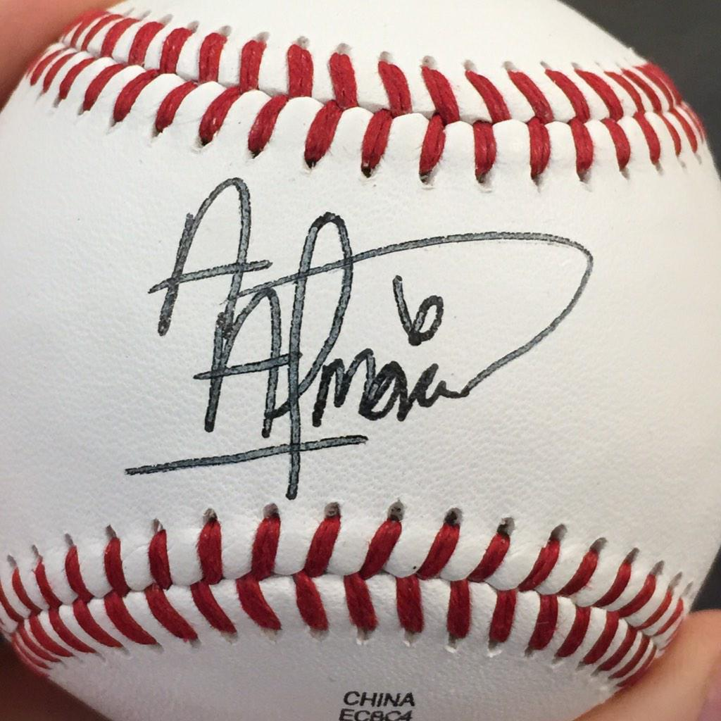 Let's do this! 1 lucky follower who RTs this post will receive this baseball signed by 2014 Smokies OF Albert Almora! http://t.co/eAhkfgwhxo