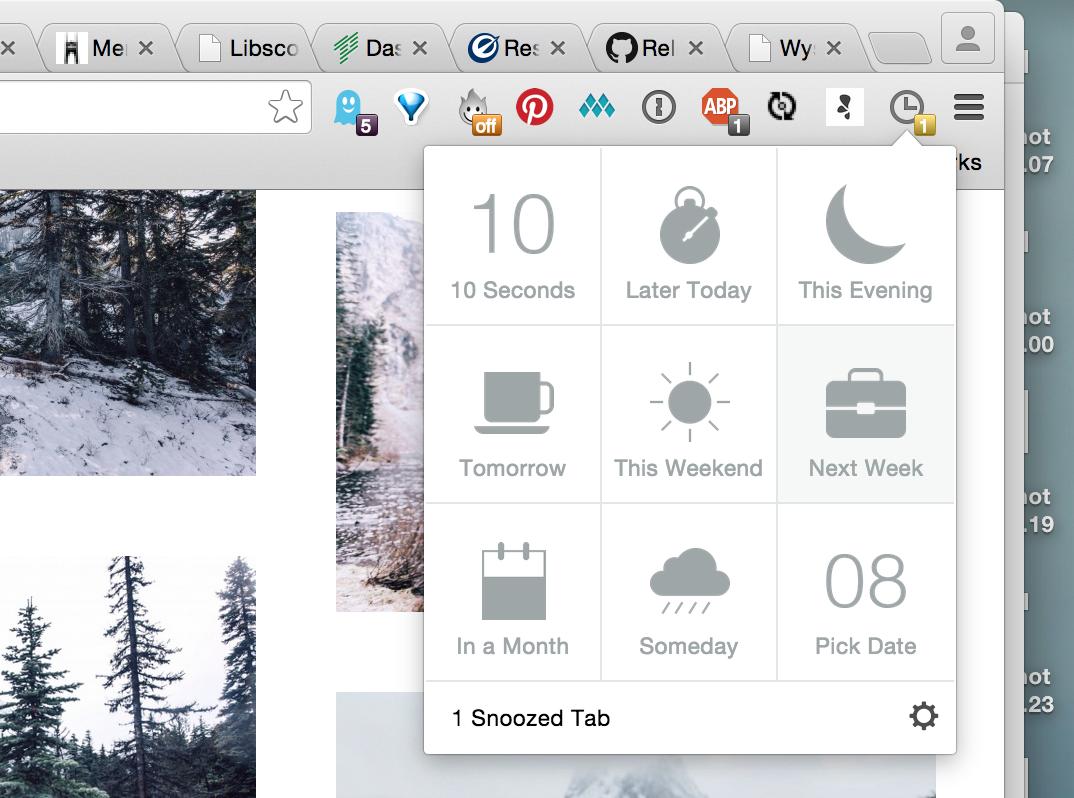 Mailbox-like tab snoozing for Chrome from @athyuttamre  LOVING THIS!   https://t.co/K19uZmvL2Z http://t.co/PG6shttxew