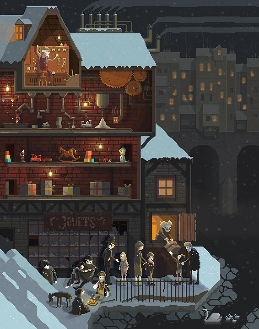 Here's my last #pixelart #illustration of this 2014! :) Scene #13: 'The Toy Maker' #MerryChristmas http://t.co/d84x4DwNxz