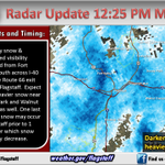 Mod-hvy snow across I-40 W of #Flagstaff, as well as near Doney Park and E Flag. One last burst poss in town. #azwx http://t.co/cLbNhoLgXb