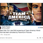 Paramount Orders Movie Theaters To Cancel Team America Screenings http://t.co/ozF7noqhWK http://t.co/67Qj5N1Q6N