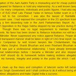 Ravi Shankar Prasads response (enclosed) doesnt deny that he, as an MP, got Rs. 7 lakhs/month from FineTech P Ltd http://t.co/r2u9yJeoNg