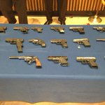 NYPD displays weapons allegedly seized from rapper Bobby Schmurda and his crew. #1010wins http://t.co/fqJDXLREmt