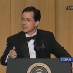 Watch perhaps the greatest Colbert moment of all time--the 2006 WH Correspondents Dinner: http://t.co/IbRNDF0jAv http://t.co/ljPfwZNVBw