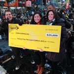 Know what's cool? @Sprint getting in the holiday spirit by handing our CMO @Naomi_NYC a massive check! #CutYourBill http://t.co/7g04Ev3uAG
