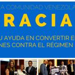 Gracias a la comunidad venezolana por su ayuda en convertir en ley las sanciones contra el régimen de #Maduro. http://t.co/70Xzr38uhq