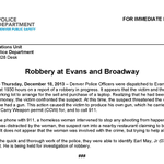 ROBBERY AT EVANS & BROADWAY - #Denver http://t.co/z92qgJ3NaI