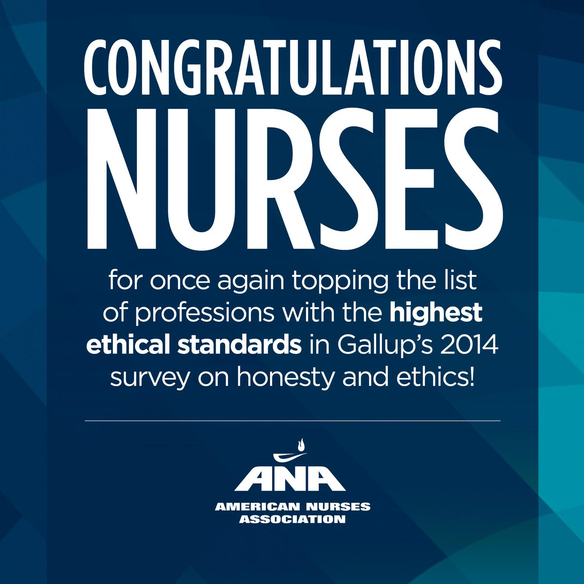 Congrats nurses for being a part of the most trusted profession! http://t.co/kJw60HxKtW