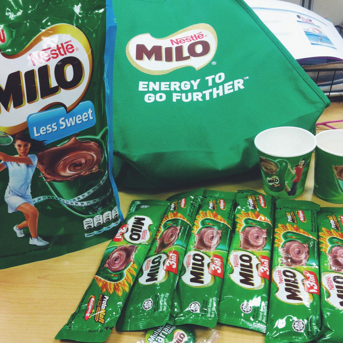 . @MiloMalaysia made my Friday today by flooding me and my team with loads of MILO! #MiloForAll #happydieme http://t.co/GuMSxvRWoD