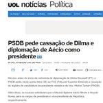 """A PIADA DO DIA: """"PSDB pede cassação de Dilma e diplomação de Aécio como presidente"""" por // @Helenasth http://t.co/I8UpvUIuBO"""