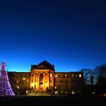 Seasons Greetings from #IowaState. The evening scene from central campus as finals week winds down. @IowaStateU http://t.co/8tkfBnrK2a