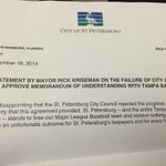 Mayor @Kriseman just held impromptu press conference, handed out this statement on #raysvote http://t.co/mbPXmkC3OA
