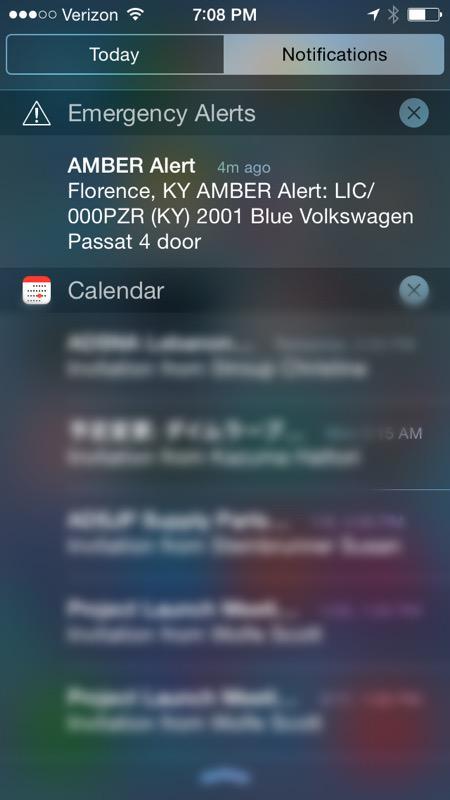 うわ、iPhoneが一斉に鳴ったと思ったら、Amber alertだった。誰か誘拐された! USでは、こういう仕組みがあるのです。 http://t.co/FJPNvr6NLC
